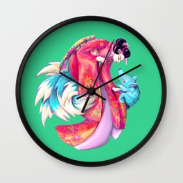 Maiko and Kitsune Wall Clock