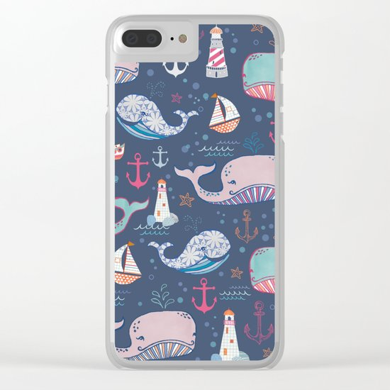 Whale Toss Clear iPhone Case