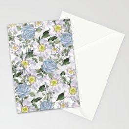 Vintage Roses Blue Stationery Cards