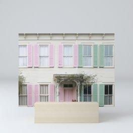 Rainbow Row Houses in Savannah Mini Art Print