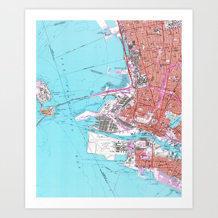 Vintage map of oakland california 1959 art print by bravuramedia vintage map of oakland california 1959 art print publicscrutiny Image collections