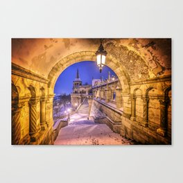Snowy winter morning at the Fisherman's Bastion in Budapest Canvas Print