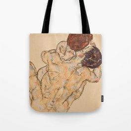 """Egon Schiele """"Mann und Frau, Umarmung"""" Tote Bag"""