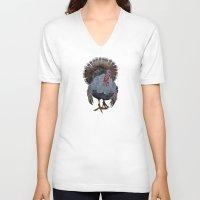 turkey V-neck T-shirts featuring wild turkey by Ruud van Koningsbrugge