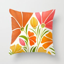 Spring Wildflowers / Floral Illustration Throw Pillow