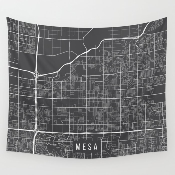 Mesa Map, Arizona USA - Charcoal Portrait Wall Tapestry by ...