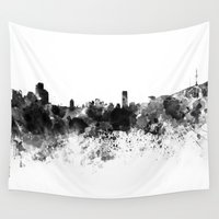seoul Wall Tapestries featuring Seoul skyline in black watercolor by Paulrommer