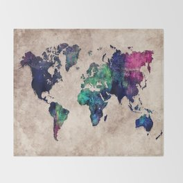 World map watercolor 1 Throw Blanket