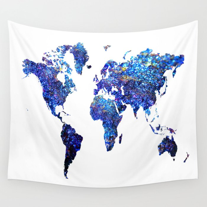 World map blue purple wall tapestry by haroulita society6 world map blue purple wall tapestry gumiabroncs Images