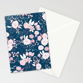 Elegant mauve pink white navy blue rustic floral Stationery Cards