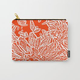 Dahlia Lino Cut, Fiery Red Carry-All Pouch