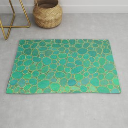 Soft gardient green pebbles pattern Rug