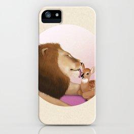 Lion Kiss a Deer iPhone Case