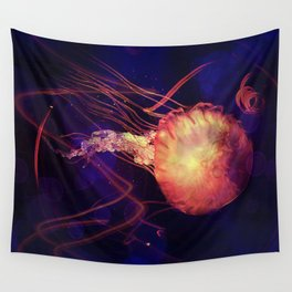 Jellyfish of the Blacklight Electro Rave Wall Tapestry