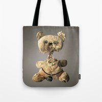 hologram Tote Bags featuring Sad Mentalembellisher Poet Teddy Bear With Hologram Eyes by mentalembellisher