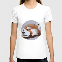 red panda T-shirts featuring panda by JuliaTara