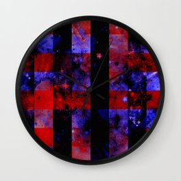 Checkered Space - Abstract Space Painting In Red, Black And Blue Wall Clock