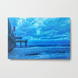 Stormy Morning at the Pier Metal Print