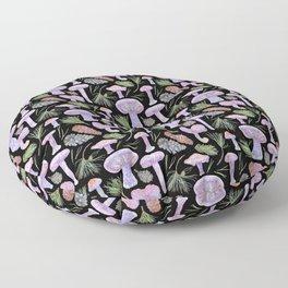 Wood Blewits and Pine Dark Pattern Floor Pillow