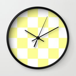 Large Checkered - White and Pastel Yellow Wall Clock