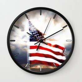 US Flag Totally Glitched Wall Clock