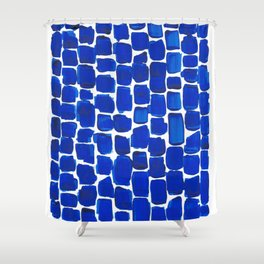 Brick Stroke Blue Shower Curtain