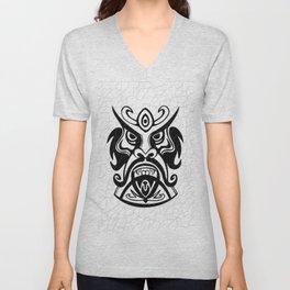 Vicious Tribal Mask Black and White 006 Unisex V-Neck