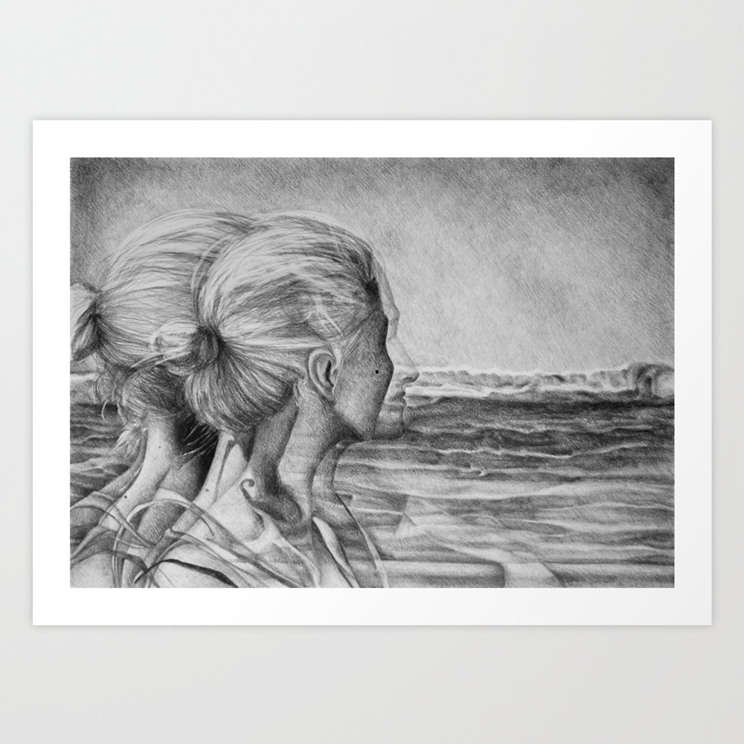 Girl woman beautiful sad hair drawing black white beauty art dark paint portrait painti art print