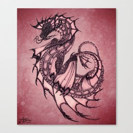 """Tsunami"" by Amber Marine ~ Sea Dragon (Ruby Version) ~ Graphite Illustration, (Copyright 2005) Canvas Print"