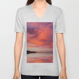 Electric orange sunset Unisex V-Neck