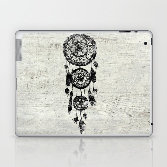 Hipster Lace black dreamcatcher on white wood Laptop & iPad Skin