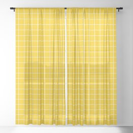 Grid Pattern - yellow and white - more colors Sheer Curtain