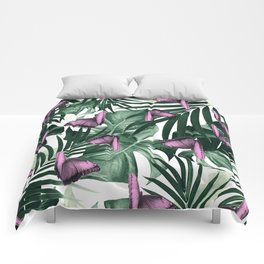 Tropical Butterfly Jungle Leaves Pattern #2 #tropical #decor #art #society6 Comforters