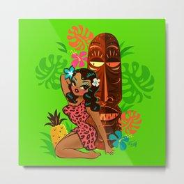 Retro Tiki Temptress in PInk Leopard Print Metal Print