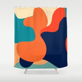 Retro 70's and 80's colorful fluid abstraction Shower Curtain