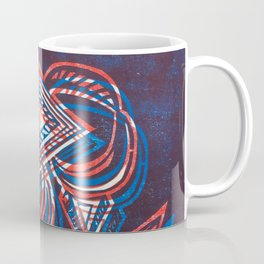 Geometric Woodcut - Red and Blue Coffee Mug