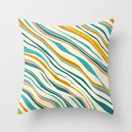 Summer Ocean / Teal & Gold Throw Pillow