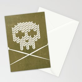 Knitted Skull / Knitting with Attitude (white on olive yellow) Stationery Cards