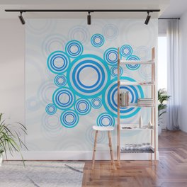 Blue circles of the 70s Wall Mural