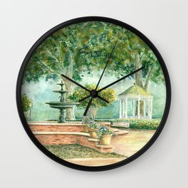 Fountain at the Square Watercolor Wall Clock