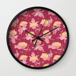 Love love - Valentine cherubs pattern Wall Clock
