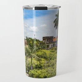 Red Gazebo and Trees Lining the Parque Colon de Granada in Nicaragua Travel Mug