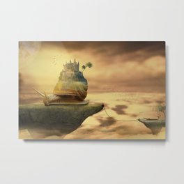The Snail With The Castle Back Pulls The World Metal Print