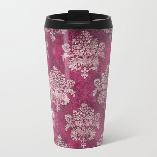 Old shabby vintage damask pink purple pattern Metal Travel Mug