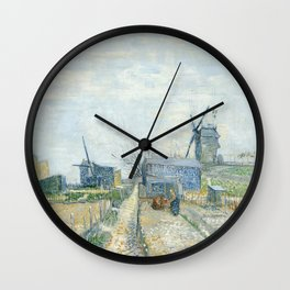 Montmartre - Mills and Vegetable Gardens by Vincent van Gogh Wall Clock