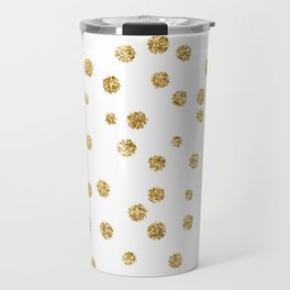 Gold glitter confetti on white - Metal gold dots Travel Mug