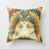 superheroes Throw Pillows featuring Superheroes SF by Krisonautopilot
