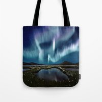 northern lights Tote Bags featuring Northern Lights by FantasyArtDesigns