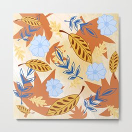 Falling Leaves in Maple Orange Metal Print