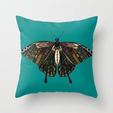 swallowtail butterfly teal Throw Pillow
